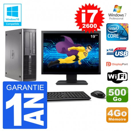 "PC HP 6200 SFF Ecran 19"" Intel i7-2600 RAM 4Go Disque 500Go Graveur DVD Wifi W7"