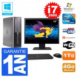 "PC HP 6200 SFF Ecran 19"" Intel i7-2600 RAM 4Go Disque 1To Graveur DVD Wifi W7"