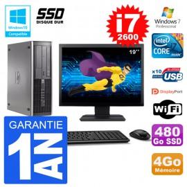 "PC HP 6200 SFF Ecran 19"" Intel i7-2600 RAM 4Go SSD 480Go Graveur DVD Wifi W7"