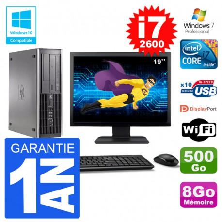 "PC HP 6200 SFF Ecran 19"" Intel i7-2600 RAM 8Go Disque 500Go Graveur DVD Wifi W7"