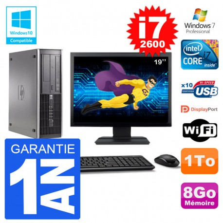 "PC HP 6200 SFF Ecran 19"" Intel i7-2600 RAM 8Go Disque 1To Graveur DVD Wifi W7"