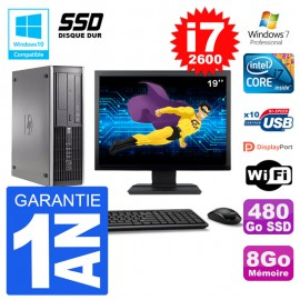 "PC HP 6200 SFF Ecran 19"" Intel i7-2600 RAM 8Go SSD 480Go Graveur DVD Wifi W7"