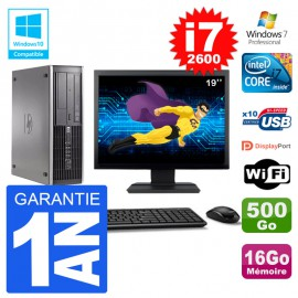 "PC HP 6200 SFF Ecran 19"" Intel i7-2600 RAM 16Go Disque 500Go Graveur DVD Wifi W7"