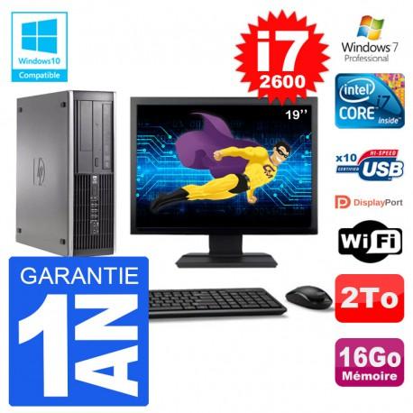"PC HP 6200 SFF Ecran 19"" Intel i7-2600 RAM 16Go Disque 2To Graveur DVD Wifi W7"