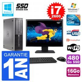 "PC HP 6200 SFF Ecran 19"" Intel i7-2600 RAM 16Go SSD 480Go Graveur DVD Wifi W7"