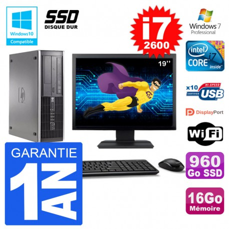 "PC HP 6200 SFF Ecran 19"" Intel i7-2600 RAM 16Go SSD 960Go Graveur DVD Wifi W7"