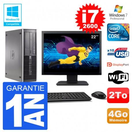 "PC HP 6200 SFF Ecran 22"" Intel i7-2600 RAM 4Go Disque 2To Graveur DVD Wifi W7"
