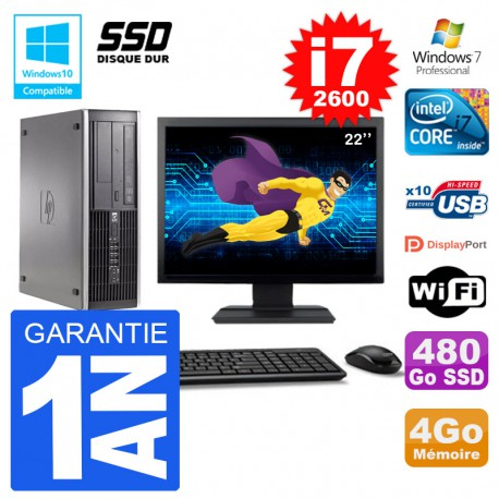 "PC HP 6200 SFF Ecran 22"" Intel i7-2600 RAM 4Go SSD 480Go Graveur DVD Wifi W7"