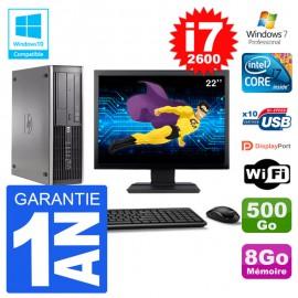"PC HP 6200 SFF Ecran 22"" Intel i7-2600 RAM 8Go Disque 500Go Graveur DVD Wifi W7"