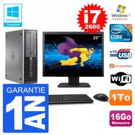 "PC HP 6200 SFF Ecran 22"" Intel i7-2600 RAM 16Go Disque 1To Graveur DVD Wifi W7"
