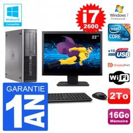 "PC HP 6200 SFF Ecran 22"" Intel i7-2600 RAM 16Go Disque 2To Graveur DVD Wifi W7"