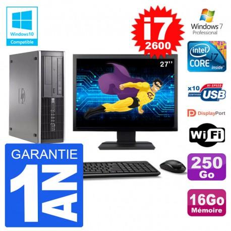 "PC HP 6200 SFF Ecran 27"" Intel i7-2600 RAM 16Go Disque 250Go Graveur DVD Wifi W7"