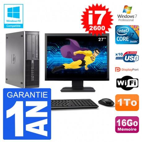 "PC HP 6200 SFF Ecran 27"" Intel i7-2600 RAM 16Go Disque 1To Graveur DVD Wifi W7"