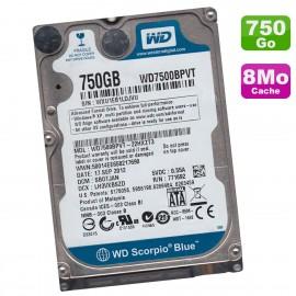 Disque Dur 750Go SATA 2.5 WD Scorpio Blue WD7500BPVT-22HXZT3 PC Portable 5400RPM