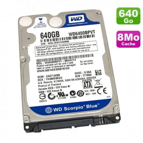"Disque Dur 640Go SATA 2.5"" WD Scorpio Blue WD6400BPVT-80HXZT3 PC Portable 8Mo"