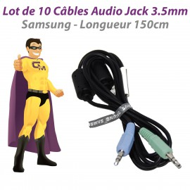 Lot x10 Câbles Audio Jack Mâles 3.5mm Samsung BN39-00061C BN39-01286A 150cm Noir