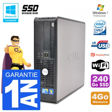 PC Dell 780 SFF Intel E7500 RAM 4Go SSD 240Go Graveur DVD Wifi W7