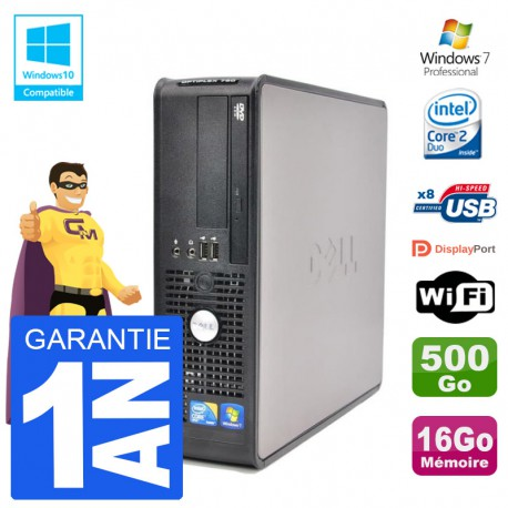 PC Dell 780 SFF Intel E7500 RAM 16Go Disque 500Go Graveur DVD Wifi W7
