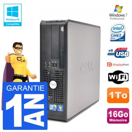 PC Dell 780 SFF Intel E7500 RAM 16Go Disque 1To Graveur DVD Wifi W7