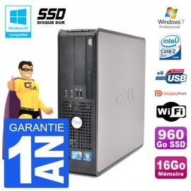PC Dell 780 SFF Intel E7500 RAM 16Go SSD 960Go Graveur DVD Wifi W7
