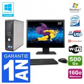 """PC Dell 780 SFF Ecran 22"""" Intel E7500 RAM 16Go Disque 500Go Graveur DVD Wifi W7"""