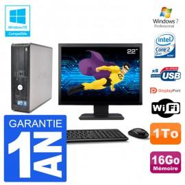 """PC Dell 780 SFF Ecran 22"""" Intel E7500 RAM 16Go Disque 1To Graveur DVD Wifi W7"""