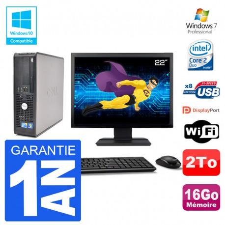 """PC Dell 780 SFF Ecran 22"""" Intel E7500 RAM 16Go Disque 2To Graveur DVD Wifi W7"""