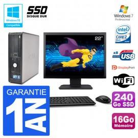 """PC Dell 780 SFF Ecran 22"""" Intel E7500 RAM 16Go SSD 240Go Graveur DVD Wifi W7"""