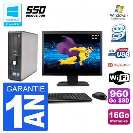"""PC Dell 780 SFF Ecran 22"""" Intel E7500 RAM 16Go SSD 960Go Graveur DVD Wifi W7"""
