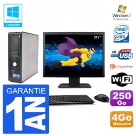 """PC Dell 780 SFF Ecran 27"""" Intel E7500 RAM 4Go Disque 250Go Graveur DVD Wifi W7"""