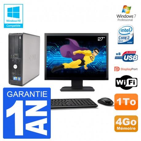 """PC Dell 780 SFF Ecran 27"""" Intel E7500 RAM 4Go Disque 1To Graveur DVD Wifi W7"""