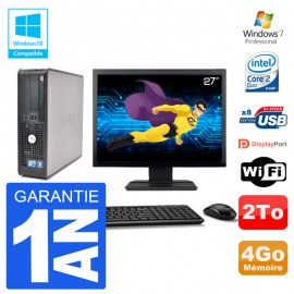 "PC Dell 780 SFF Ecran 27"" Intel E7500 RAM 4Go Disque 2To Graveur DVD Wifi W7"