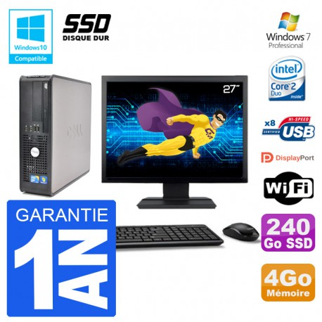 """PC Dell 780 SFF Ecran 27"""" Intel E7500 RAM 4Go SSD 240Go Graveur DVD Wifi W7"""