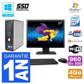 """PC Dell 780 SFF Ecran 27"""" Intel E7500 RAM 4Go SSD 960Go Graveur DVD Wifi W7"""