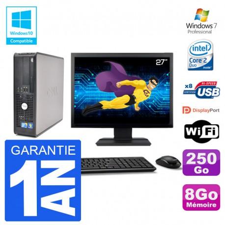 """PC Dell 780 SFF Ecran 27"""" Intel E7500 RAM 8Go Disque 250Go Graveur DVD Wifi W7"""