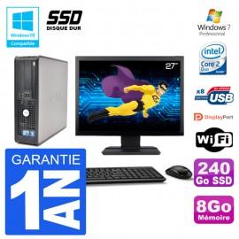 """PC Dell 780 SFF Ecran 27"""" Intel E7500 RAM 8Go SSD 240Go Graveur DVD Wifi W7"""
