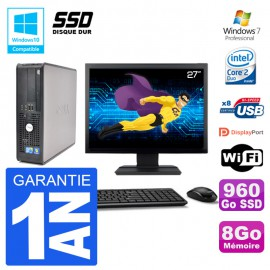 """PC Dell 780 SFF Ecran 27"""" Intel E7500 RAM 8Go SSD 960Go Graveur DVD Wifi W7"""