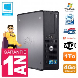 PC Dell 780 SFF Intel E8400 RAM 4Go Disque 1To Graveur DVD Wifi W7