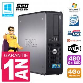 PC Dell 780 SFF Intel E8400 RAM 4Go SSD 480Go Graveur DVD Wifi W7
