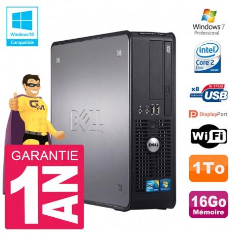 PC Dell 780 SFF Intel E8400 RAM 16Go Disque 1To Graveur DVD Wifi W7