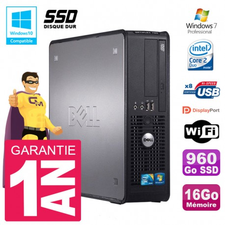 PC Dell 780 SFF Intel E8400 RAM 16Go SSD 960Go Graveur DVD Wifi W7