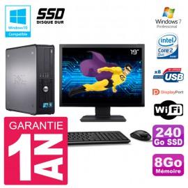 """PC Dell 780 SFF Ecran 19"""" Intel E8400 RAM 8Go SSD 240Go Graveur DVD Wifi W7"""