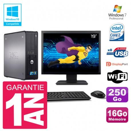 """PC Dell 780 SFF Ecran 19"""" Intel E8400 RAM 16Go Disque 250Go Graveur DVD Wifi W7"""