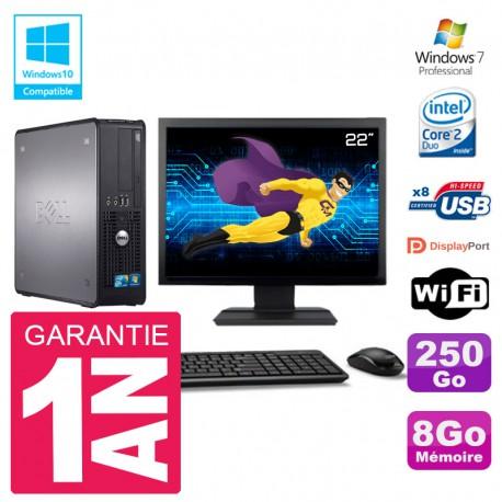 """PC Dell 780 SFF Ecran 22"""" Intel E8400 RAM 8Go Disque 250Go Graveur DVD Wifi W7"""