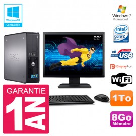 "PC Dell 780 SFF Ecran 22"" Intel E8400 RAM 8Go Disque 1To Graveur DVD Wifi W7"