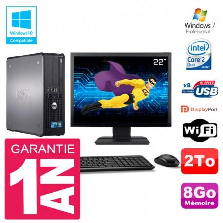 """PC Dell 780 SFF Ecran 22"""" Intel E8400 RAM 8Go Disque 2To Graveur DVD Wifi W7"""