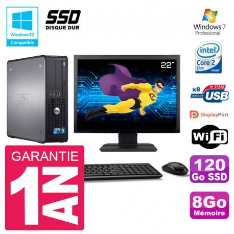 """PC Dell 780 SFF Ecran 22"""" Intel E8400 RAM 8Go SSD 120Go Graveur DVD Wifi W7"""