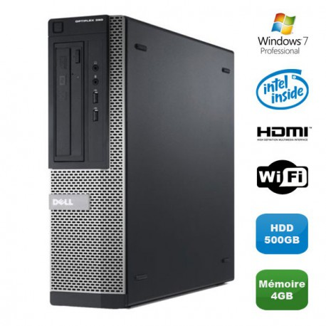 PC DELL Optiplex 390 DT G630 2.7Ghz 4Go 500Go Graveur DVD WIFI HDMI Win 7 Pro