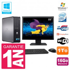 "PC Dell 780 SFF Ecran 22"" Intel E8400 RAM 16Go Disque 1To Graveur DVD Wifi W7"