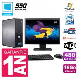 """PC Dell 780 SFF Ecran 22"""" Intel E8400 RAM 16Go SSD 480Go Graveur DVD Wifi W7"""